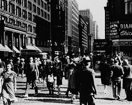 Crowd on State Street in Chicago 1940 Photo Print