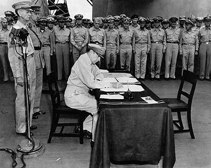 Douglas MacArthur Signs Japanese Surrender Photo Print