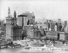 Downtown Manhattan & Fulton St. NYC, 1930s Photo Print for Sale