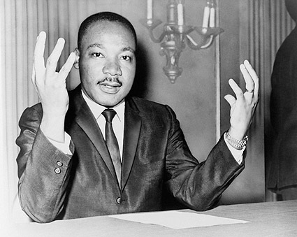 Dr. Martin Luther King, Jr. at Press Conference Photo Print