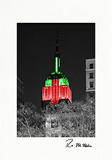 Empire State Building Holiday Colors Personalized Christmas Cards