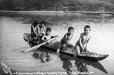 Eskimo Boys & Kayak, Grantley Harbor Alaska Photo Print for Sale