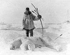 Eskimo Man After Polar Bear Hunt 1924 Photo Print for Sale