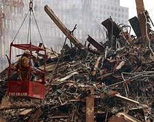FDNY Firemen in Crane Bucket at Ground Zero 9/11 Photo Print for Sale