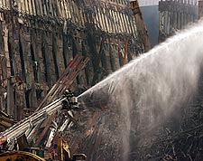 FDNY Firemen on Ladder at Ground Zero 9/11 Photo Print for Sale