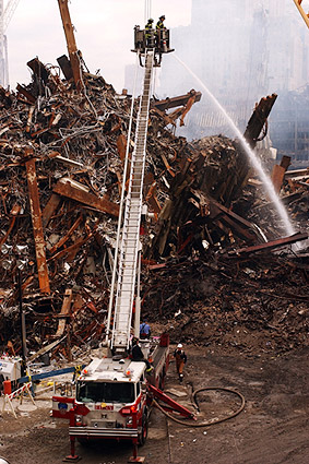 FDNY Ladder Truck Extinguishing Fires 9/11 Photo Print