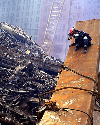 FDNY Worker on Beam at Ground Zero 9/11 Photo Print