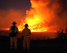 Firefighters Watching Wildfire Photo Print for Sale
