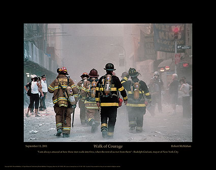 """Firefighting Posters: 9/11 Firefighter """"Walk of Courage"""" Poster Print or Photo Print"""