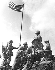 First Flag Raising at Iwo Jima WWII Photo Print for Sale