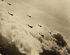 Formation of Curtiss JN-4 'Jenny' Aircraft Over Clouds WWI Photo Print for Sale