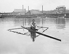 Fred Fussell Rowing in One Man Shell Photo Print for Sale