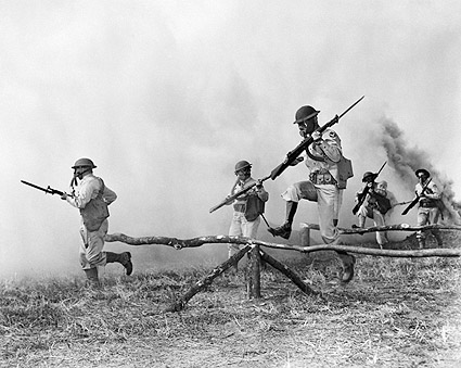 Gas Mask Training Exercise U.S. Army Troops WWII Photo Print