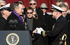 George H.W. Bush at Commissioning of CVN 77 Photo Print for Sale