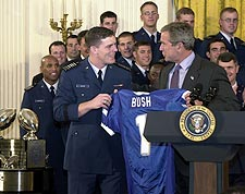 George W. Bush Presented w/ Football Jersey Photo Print for Sale