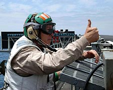 George W. Bush Thumbs Up on Flight Deck Photo Print for Sale