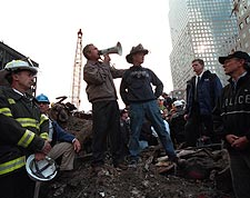 George W. Bush w/ NYC Firefighter at Ground Zero 9/11 Photo Print for Sale