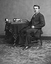Inventor Thomas Edison Phonograph Portrait Photo Print for Sale