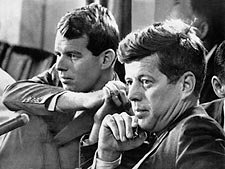 John Kennedy and Robert Kennedy at Committee Hearing 1959 Photo Print for Sale