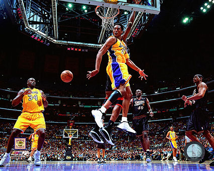 Kobe Bryant and Shaquille O'Neal 2001 NBA Finals Photo Print