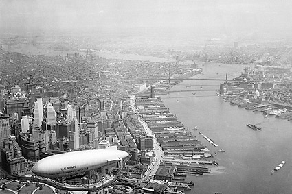 Lower Manhattan, East River & Army Blimp NY Photo Print