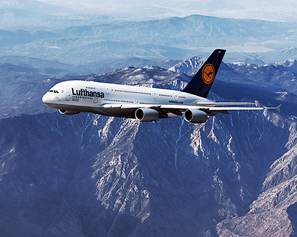 lufthansa airbus a380 800 over mountains photo print for sale. Black Bedroom Furniture Sets. Home Design Ideas