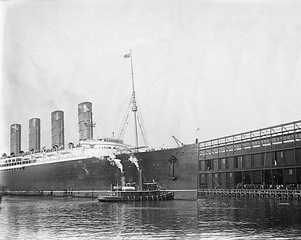 Lusitania Cruise Ship Hudson River Pier NYC Photo Print