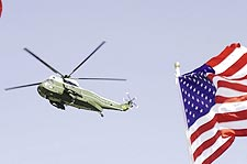 Marine One Helicopter with American Flag Photo Print for Sale