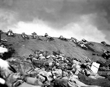 Marines on Slope of Red Beach in Iwo Jima WWII Photo Print