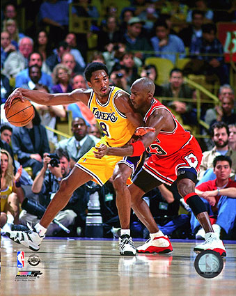 Michael Jordan vs. Kobe Bryant Basketball Photo Print