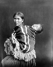 Navajo Indian Woman and Sleeping Child Photo Print for Sale