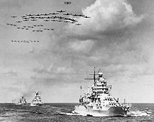 Naval Ships & Planes in Open Sea Photo Print for Sale