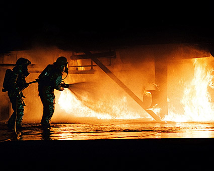 Navy Firefighter Fire Containment Training Photo Print