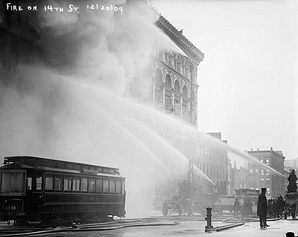 NYC Firefighters Putting out Fire 1909 Photo Print