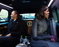 Obamas in Presidential Limousine at Inaugural Parade 2013 Photo Print for Sale