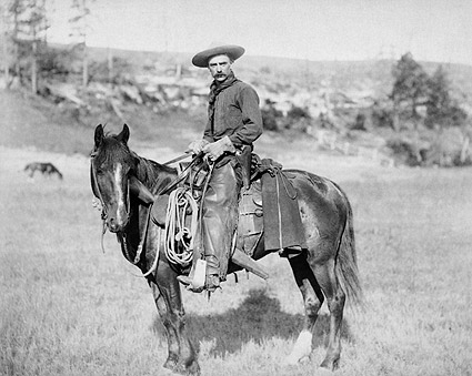 Old West Cowboy on Horse 1888 Photo Print