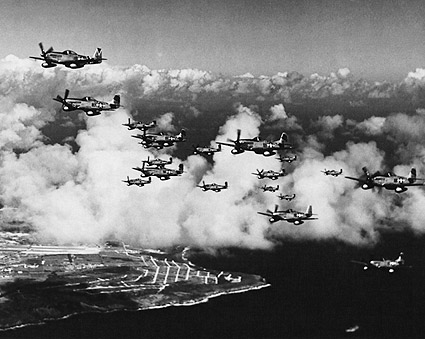 P-51 Mustangs Flying Over Saipan WWII Photo Print