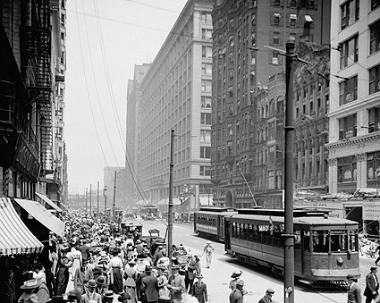 Pedestrians and Streetcars on State Street in Chicago Photo Print