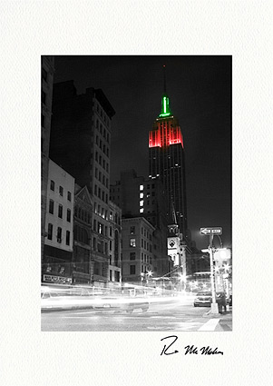 Personalized Empire State Building Luminous Christmas Greeting Cards