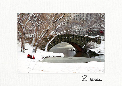 Personalized Winter Retreat Central Park New York City Christmas Cards