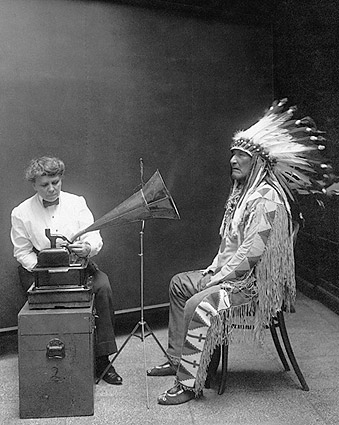 Piegan Indian Mountain Chief Records Voice Photo Print