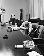 Pres. Lyndon Johnson Troubled by Vietnam Photo Print for Sale