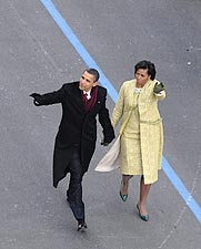Barack and Michelle Obama at Inaugural Parade Photo Print for Sale