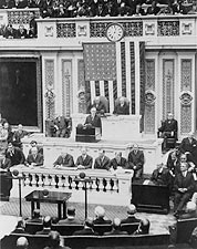 President Coolidge Giving First Address to Congress Photo Print for Sale