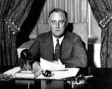 President Franklin D. Roosevelt Giving 'Fireside Chat' Photo Print for Sale