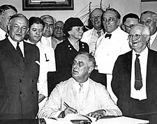 President Franklin Roosevelt Signs Social Security Act  Photo Print for Sale