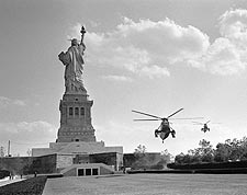 President Johnson's Marine One at Statue of Liberty NYC Photo Print for Sale
