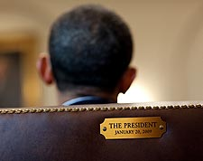 President Obama in President's Chair at Cabinet Room Photo Print for Sale