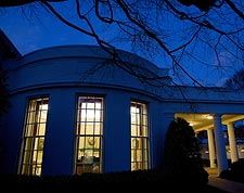 President Obama Seen Through Oval Office Window Photo Print for Sale