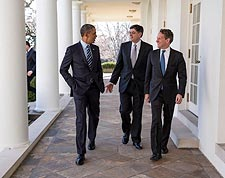 President Obama with Chief of Staff and Treasury Secretary Photo Print for Sale